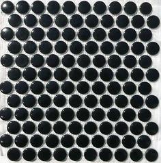 Mosaïque M² couleur noir forme ronde pastille plaque - Vente de mosaïque salle de bain
