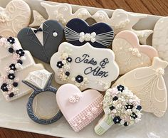 Posting this wedding set for the last #bakedesigneat challenge. It been a great 10 weeks of challenges and I'm glad I had the chance to participate in a few of them! #weddingcookies #weddingringcookies #bridaldresscookies #brideandgroomcookies #heartcookie #weddingcakecookies  #weddingbouquet #bouquetcookies