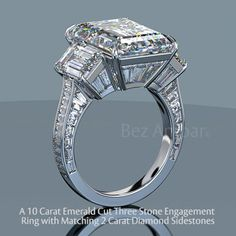 As depicted this unique 3 stone baguette diamond ring features a beautiful 10.75 carat, D color, flawless emerald cut diamond flanked by matching 2 carat emerald cut diamonds seated on a throne of baguettes and asschers.