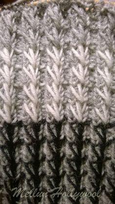 Keksin uuden resorimallin , kun istuin junassa ja neuloin 2 o 2 n -resoria tavalliseen sukkaan. Oli niin tylsää tehdä tavallista resoria, jo... Knitting Stitches, Knitting Socks, Knitted Hats, Knitting Patterns, Diy Crochet, Yarn Crafts, Mittens, Needlework, Tech
