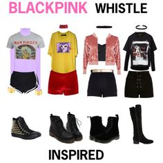 BLACK PINK - WHISTLE #2 by kariina-sykes on Polyvore featuring mode, Vetements, adidas NEO, J.TOMSON, River Island, Retrò, Dr. Martens, Steve Madden, Converse and Henri Bendel