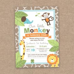 Monkey & Jungle Animals First Boy Birthday Invitation, Summer Theme, DIY Printable