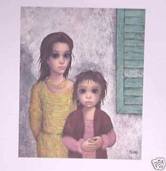 Vintage Walter Margaret Keane Lithograph Print 1960's by Decodizzy, $18.99