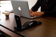 """geniales Bluetooth Handset und iPhone Ladeschale mit Stil """"Moshi Moshi MM03i"""""""