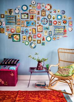 This is kind of what I want to do to my entry but with a turquoise wall and decorative stars. I love all of the colors and the whimsy of this, though.