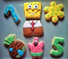 Sponge Bob Square Pants Cookie Collection Group Shot. We've got Sponge Bob, Patrick, Pineapple House, Birthday #s, and fun tropical Luau Floral cookies.