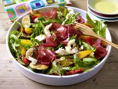 salad with roasted vetetables, mozzarella and dry-cured beef (bündner fleisch)