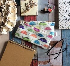 Pencil Case Umbrella Pattern Pencil Pouch by ElenaIllustration