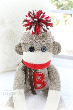 b2eeb44615731 Children s Personalized Classic Traditional Sock Monkey Doll