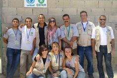 """Oxfam (and UNICEF) celebrating the completion of their wash blocks in module 4, Zaatari refugee camp, Jordan. """"i still cant stop smiling ..That was a glory"""" via @FarahAlBasha. More on Farah's humanitarian work http://blogs.oxfam.org/en/blogs/13-03-08-helping-syrian-refugees-male-dominated-environment"""