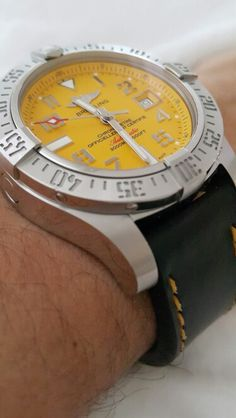 Avenger II Seawolf Cobra Yellow with black leather strap and yellow stitching.