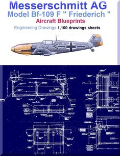 Messerschmitt Bf-109 F Aircraft Blueprints Engineering Drawings - DVD - Aircraft Reports - Manuals Aircraft Helicopter Engines Propellers Blueprints Publications