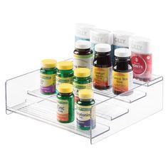 mDesign Storage Organizer for Vitamins, Supplements, Health Supplies - 4 Tier, Clear