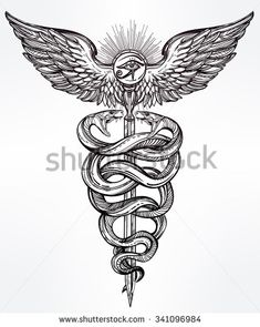 Caduceus symbol of god Mercury. Highly detailed hand snakes, wrapped around winged staff. Hand-drawn vintage linear tattoo design. Dark romantic isolated vector art.  - stock vector