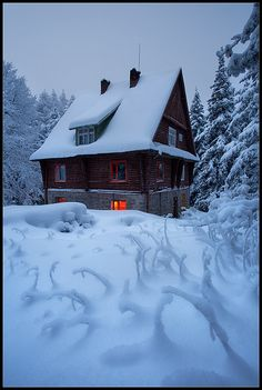 Snow house - Mountain hut Pine wood at Vitosha Bulgaria / I pinned this for the shapes in the foreground Winter Magic, Winter Snow, Winter Time, Bulgaria, Macedonia, Winter Scenery, Cabins And Cottages, Eastern Europe, Beautiful Landscapes