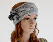 Knitted Headband Ear Warmer with Pompom and Cable Knit Design in Light Gray