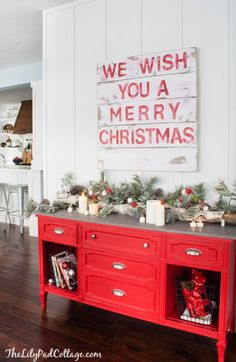 The red buffet!!  Cozy Ski Lodge Inspired Christmas Tour - The Lilypad Cottage