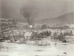 Snow and fire: The above pictures shows the recapture of the French town of Wingen-sur-Moder from German troops