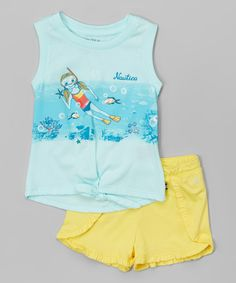 Pale Aqua Snorkel Tie-On Tank & Yellow Shorts - Toddler & Girls