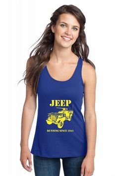 jeep army running since 1941 awesome funny Racerback Tank