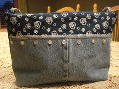 Denim and lace purse. $25.00, via Etsy.