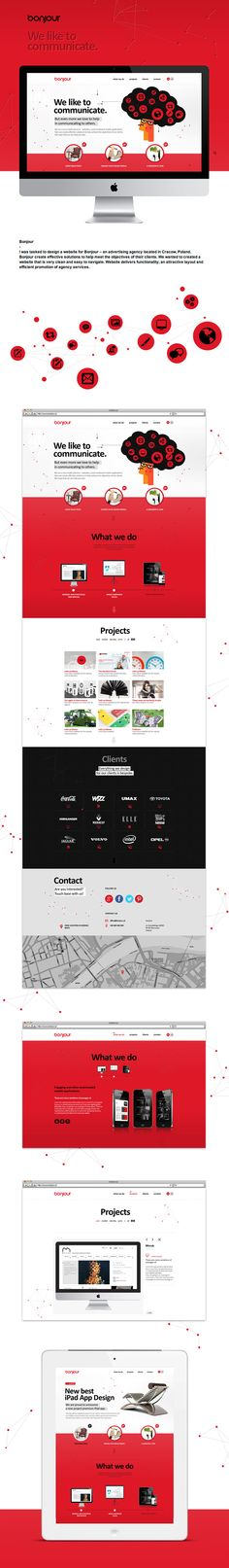 """Bonjour by Renata Cyganczuk, via Behance *** """" Bonjour create effective solutions to help meet the objectives of their clients. We wanted to created a website that is very clean and easy to navigate. Website delivers functionality, an attractive layout and efficient promotion of agency services. """""""