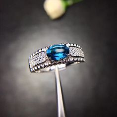 Preety Silver Handmade Natural Black Onyx,London Blue Topaz,Lemon Citrine Stones Female Pave Bezal Ring in Silver Color 14 mm
