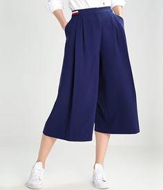 Fusta pantalon lunga Tommy Hilfiger | Cea mai buna oferta Tommy Hilfiger, Couture, Fascia Elastica, Pants, Blue, Fashion, Moda, Haute Couture, Trousers