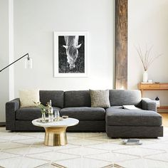 Urban 2-Piece Chaise Sectional - Charcoal (Heathered Tweed) | west elm