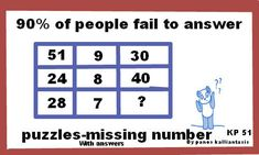"""Free on line practice of puzzles with solutions,for all competitive exams' Improve your math skills to solve math puzzles and manage questions """"Find the missing number"""" Brain Teasers With Answers, Missing Number, Maths Puzzles, Good Grades, Math Skills, Improve Yourself, Numbers, This Or That Questions, Free"""