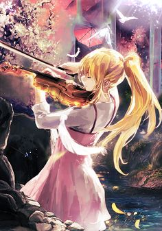 Anime picture shigatsu wa kimi no uso pictures miyazono kaori long hair single tall image fringe blonde hair standing holding ponytail payot eyes closed light smile sunlight back river playing instrument girl 513477 en Manga Anime, Art Manga, Manga Drawing, Anime Art, Vocaloid, Anime Girls, Manga Girl, I Love Anime, Me Me Me Anime