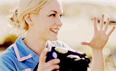 """Emily Kinney gif from Train's music video for """"Bulletproof Picasso""""."""