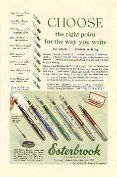 Choose the Right Point for the Way you Write Esterbrook Fountain Pen Vintage Ad