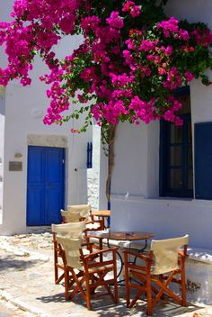 Relaxing under the bougainvillea in Amorgos, Greece Mykonos, Santorini, Oh The Places You'll Go, Places To Travel, Places To Visit, Types Of Blue, Greek Islands, Greece Travel, Dream Vacations
