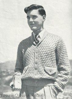 Men's Cardigan Vintage Pattern c. 1940s
