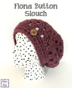 Fiona Button Slouch, free crochet pattern from Fiber Flux