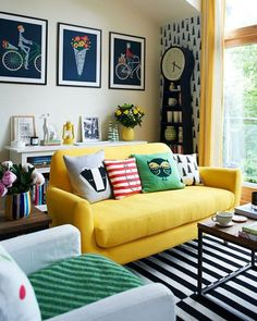 Prints and patterns around yellow couch