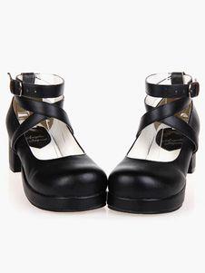 Zapatos Lolita Negros Tacones Gruesos Tirantes de Tobillo Lazo