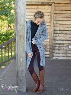Bayberry Cardigan (Adult Sizes) crochet pattern from Blackstone Designs