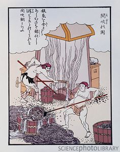 Illustration of copper smelting in ancient Japan - I'm not sure I'd want to work with molten metal in a thong.