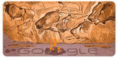 Google Doodle : il y a 26 ans, la découverte de la grotte Chauvet Best Google Doodles, Doodle Google, Chauvet Cave, Lascaux, Prehistoric Man, Prehistoric Creatures, Art Pariétal, Limestone Wall, Important Dates