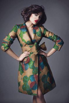 African dress. This would look great as a trench coat to go over a solid colored dress.