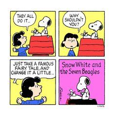 Snoopy writes a story.