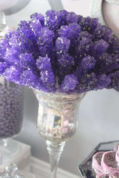 Gorgeous rock candy display at a purple glam wedding party!