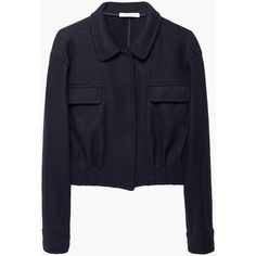 J.W. Anderson Seamed Jacket ($540) ❤ liked on Polyvore featuring outerwear, jackets, coats & jackets, cropped jacket, navy blue jacket, j.w. anderson, flap jacket y long sleeve jacket