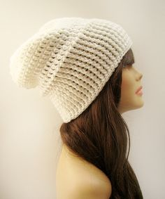 FREE SHIPPING - Unisex Slouchy Crochet Beanie - Pure White