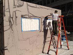 Christa creating the backside of the #tracyleestum#ATS#Grandesign#Cadillac 3D mural