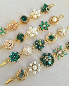 4 emerald green bridesmaid bracelets by ChicMaddiesBoutique