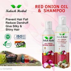 Hair Oil Natural Onion Herbal oil and Shampoo combo pack of 1 (200ml shampoo and 100 ml oil) Product Name: Natural Onion Herbal oil and Shampoo combo pack of 1 (200ml shampoo and 100 ml oil) Brand Name: Kalash Herbal Multipack: 5 Flavour: Onion Country of Origin: India Sizes Available: Free Size   Catalog Rating: ★4.4 (470)  Catalog Name: Kalash Herbal Sensational Restore Herbal Oil CatalogID_2557246 C166-SC2033 Code: 072-13104185-