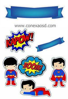 Ideas For Cupcakes Birthday Men Boys Superman Baby, Bolo Do Superman, Superman Cake Topper, Superman Cakes, Baby Superhero, Cupcakes For Boys, Fun Cupcakes, Cupcake Party, Birthday Cupcakes